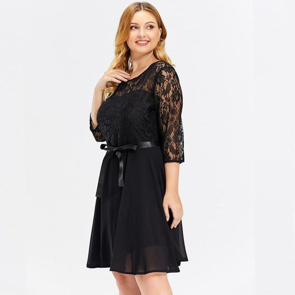 Lace Floral Hollow Out Elegant Sexy Party Dress dress Black XXL