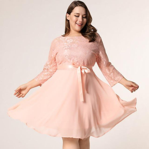 Lace Floral Hollow Out Elegant Sexy Party Dress dress Pink XXL