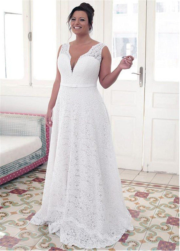 Lace Jewel Neckline Plus Size Wedding Dress wedding dress