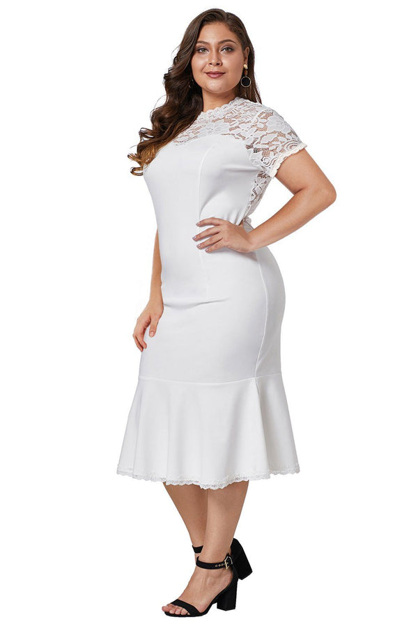 Lace Panel Peplum Hem Plus Size Sheath Dress dress