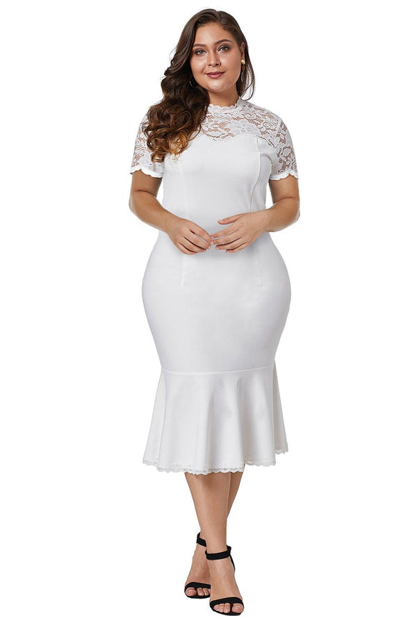 Lace Panel Peplum Hem Plus Size Sheath Dress dress White 1X
