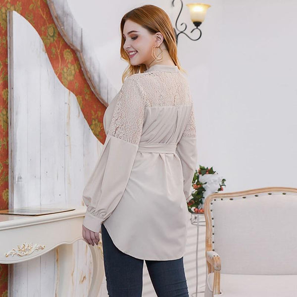 Lace Patchwork Long Sleeve Casual Blouse blouse