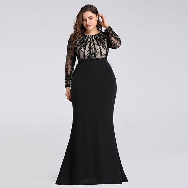 Lace Patchwork Long Sleeve Slim Bodycon Party Dress dress Black 10