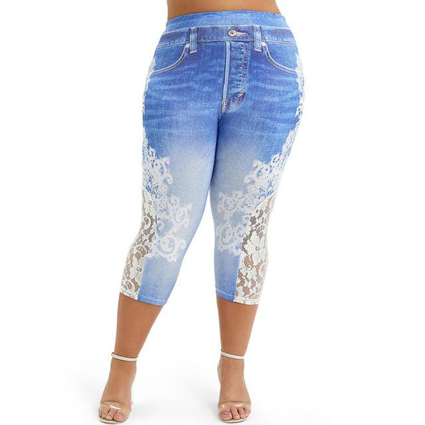 Lace Push Up 3D Print High Waist Jeans jeans Blue M
