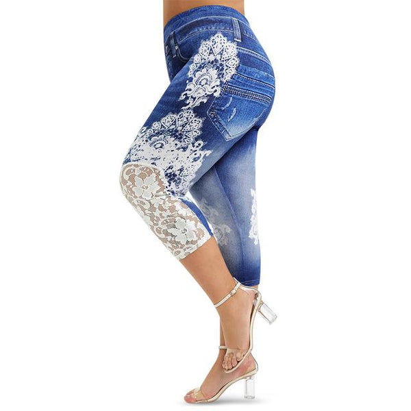 Lace Push Up 3D Print High Waist Jeans jeans Deep Blue 5X