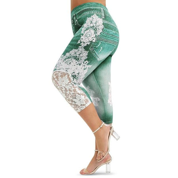 Lace Push Up 3D Print High Waist Jeans jeans Green 1X