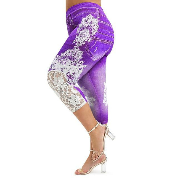 Lace Push Up 3D Print High Waist Jeans jeans Purple 5X