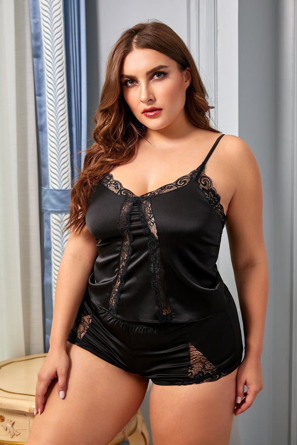 Lace Satin Plus Size Pajamas Set Plus Size Lingerie Black 1X