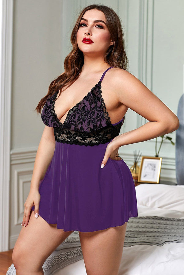 Lace See-through Plus Size Chemise Lingerie Purple 1X