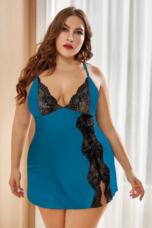 Lace Stitching Plus Size Babydoll Lingerie
