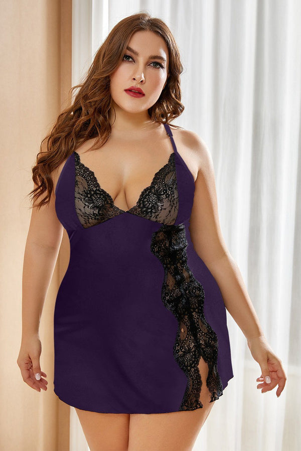 Lace Stitching Plus Size Babydoll Lingerie Purple 1X