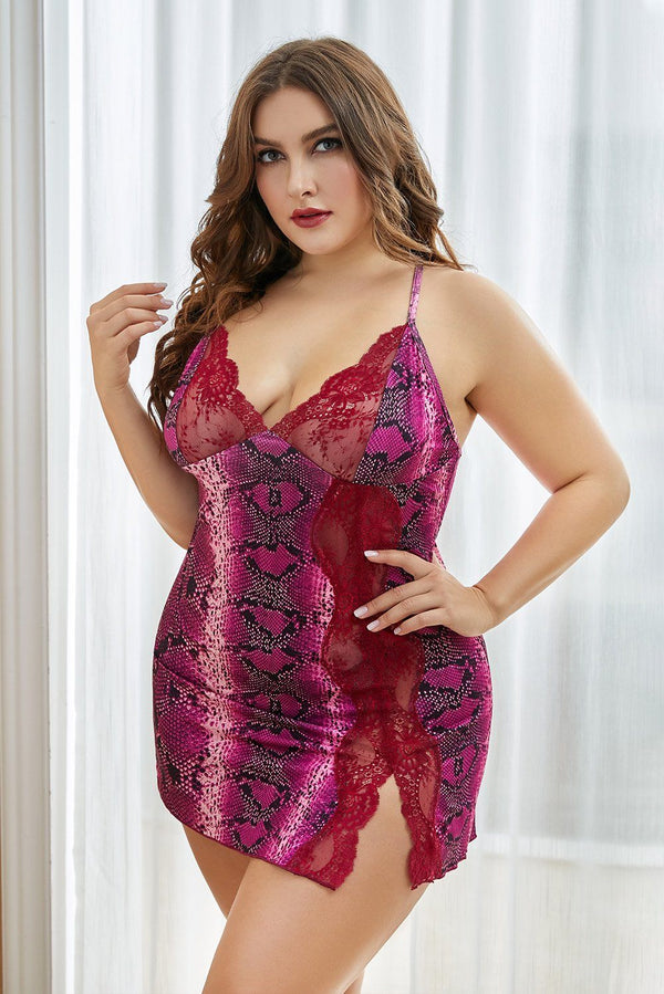 Lace Stitching Snake Print Plus Size Babydoll Plus Size Lingerie