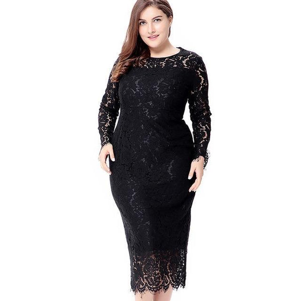 Lace Tight Long Sleeve Dress dress Black XL