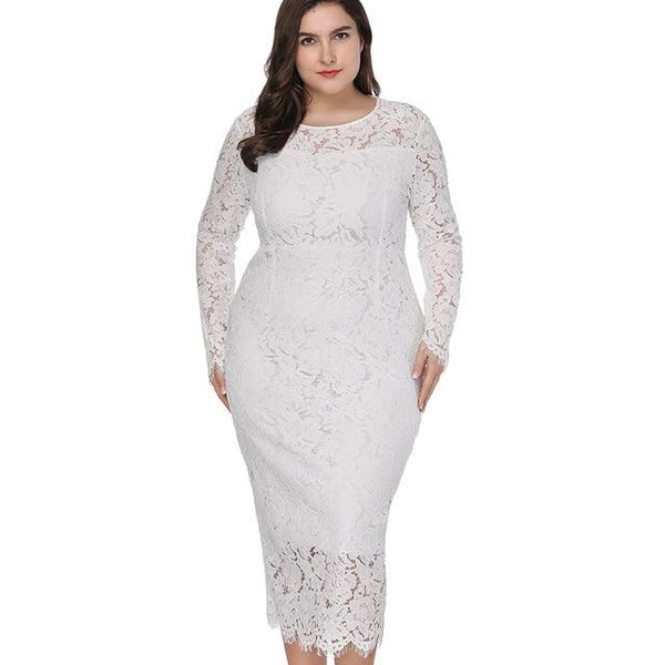Lace Tight Long Sleeve Dress dress White XL