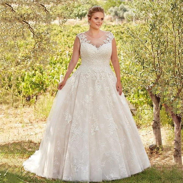 Lace Tulle Sheer Scoop Illusion Back Bridal Dress wedding