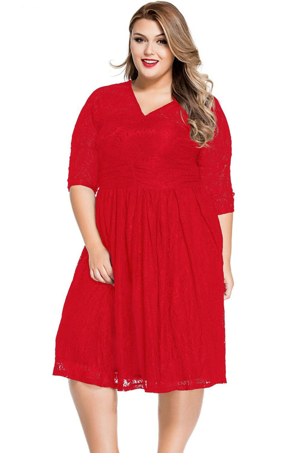 Lace V Neck Curvy Skater Dress dress Red XL