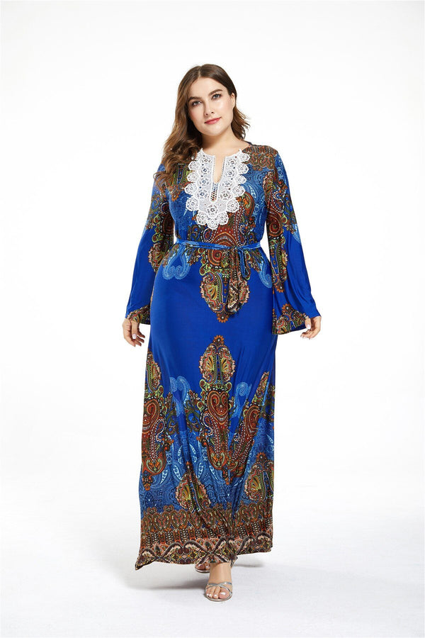 Lace V Neck Flare Long Sleeve Retro Printing Vintage Dress dress