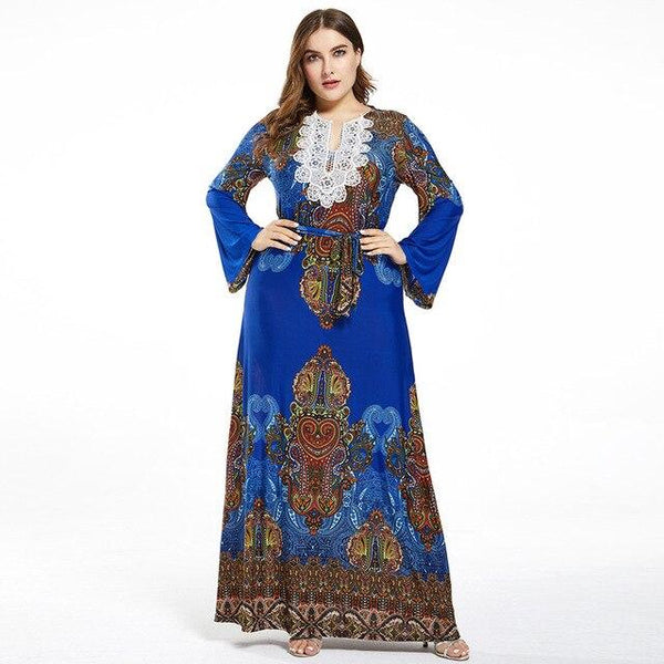 Lace V Neck Flare Long Sleeve Retro Printing Vintage Dress dress Blue L