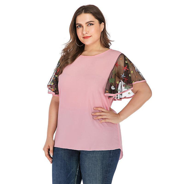 Large short sleeve loose casual O neck chiffon Shirts pink 4XL 5XL 6XL 7XL Tops