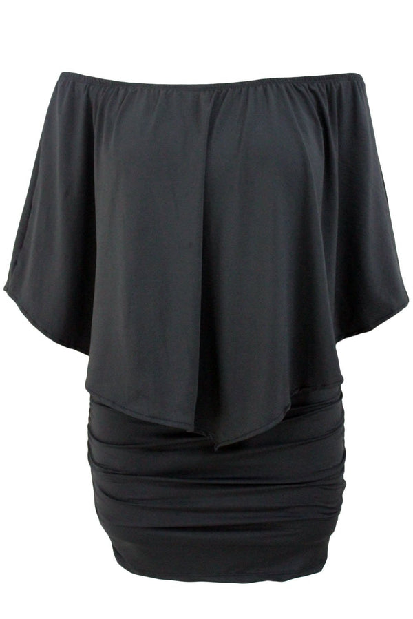 Layered Black Mini Poncho Dress dress