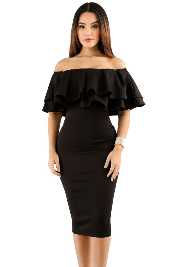 Layered Ruffle Off Shoulder Curvaceous Dress Dress Black S