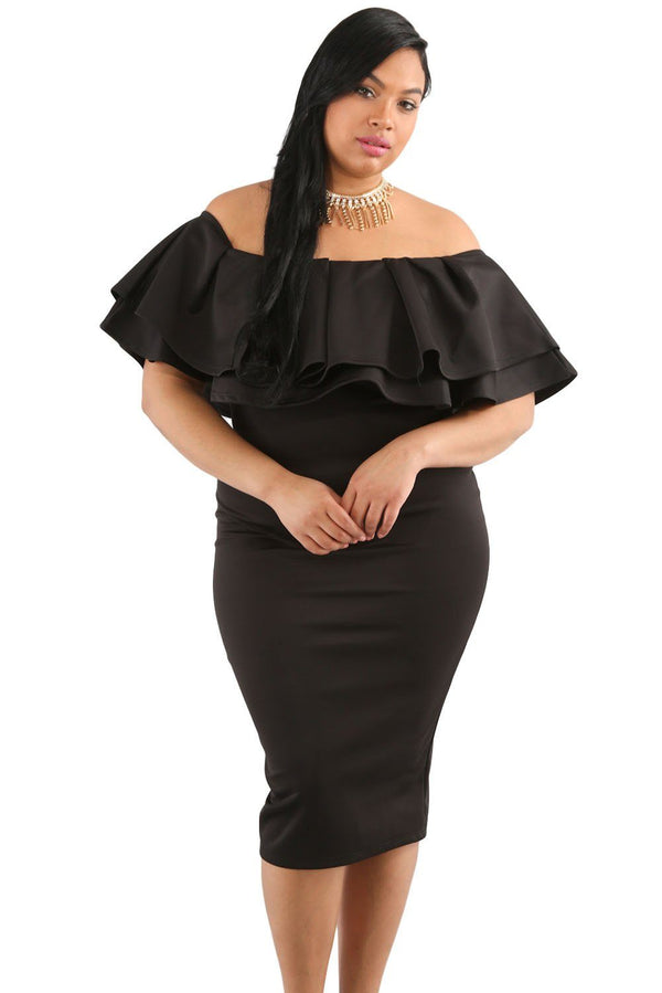 Layered Ruffle Off Shoulder Curvaceous Dress Dress Black XL