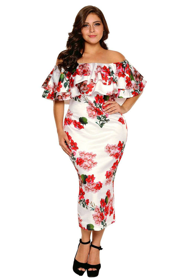 Layered Ruffle Off Shoulder Curvaceous Dress Dress Floral White XL
