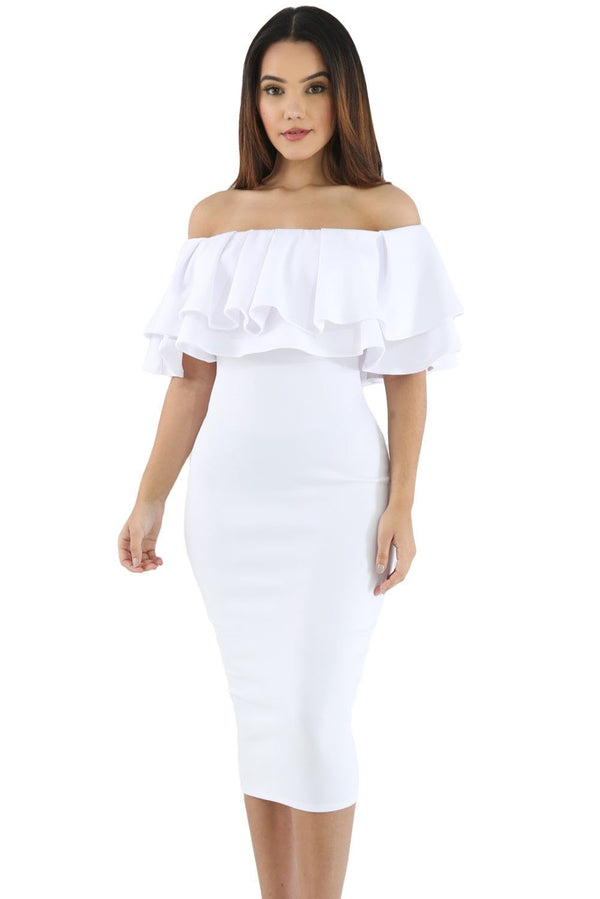 Layered Ruffle Off Shoulder Curvaceous Dress Dress White S