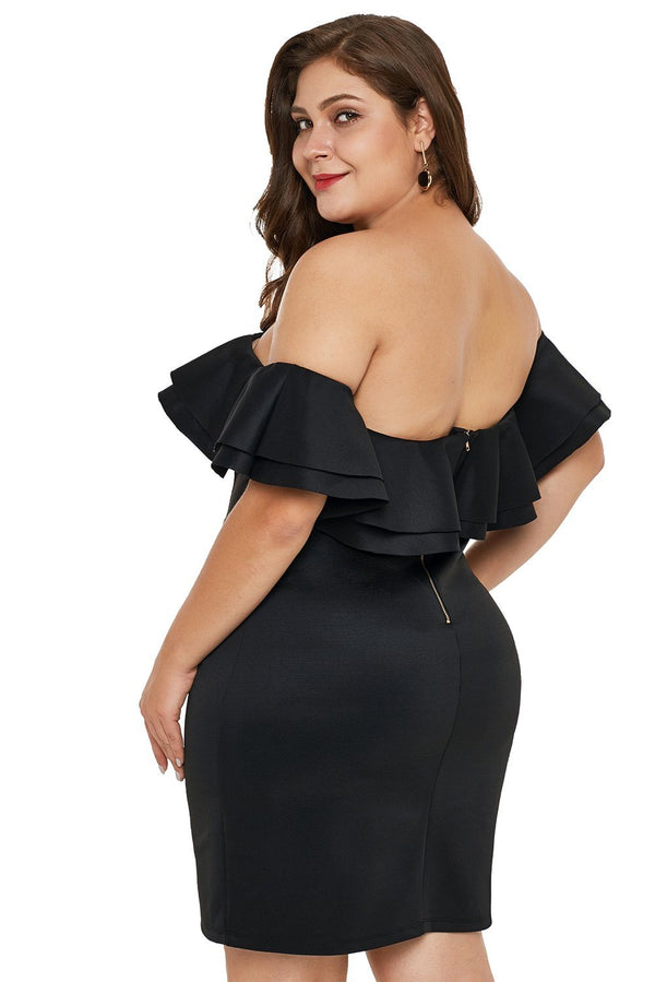Layered Ruffle Off Shoulder Plus Size Dress dress