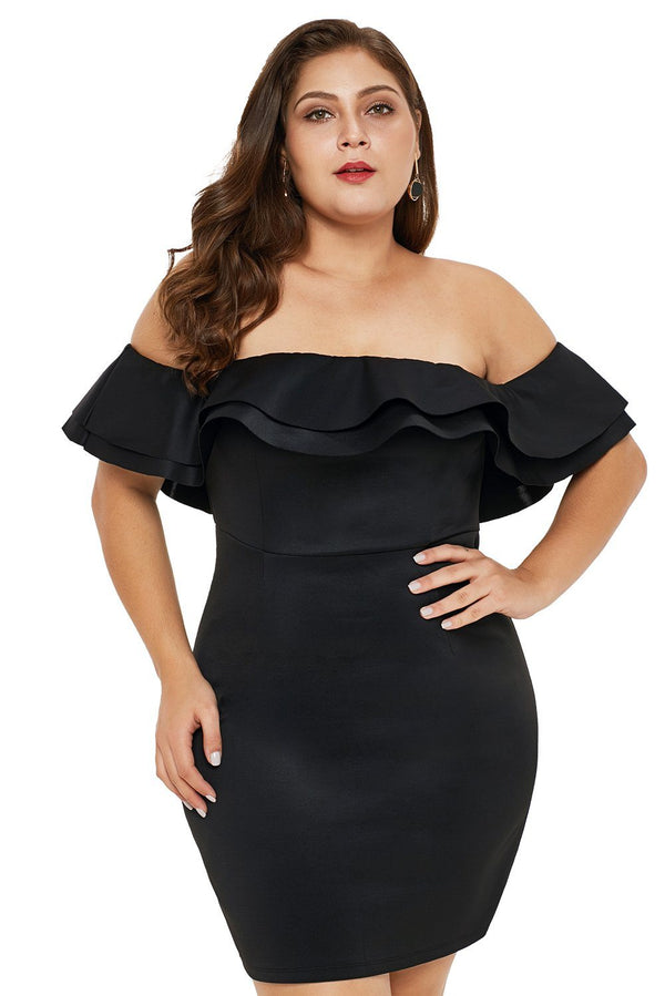 Layered Ruffle Off Shoulder Plus Size Dress dress Black 1X