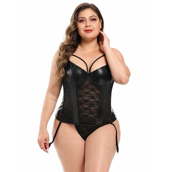 Leather & Lace Body Shaper Bustier Corset corsets black corset XXL(INT.XL)