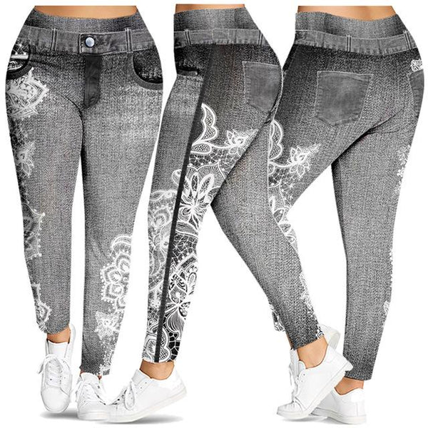 Leggings 3D Floral Print Mid Waist Sexy Skinny leggings Gray 4XL