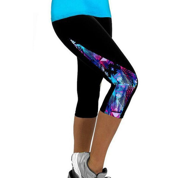 Leggings Capris Sport Printed Black