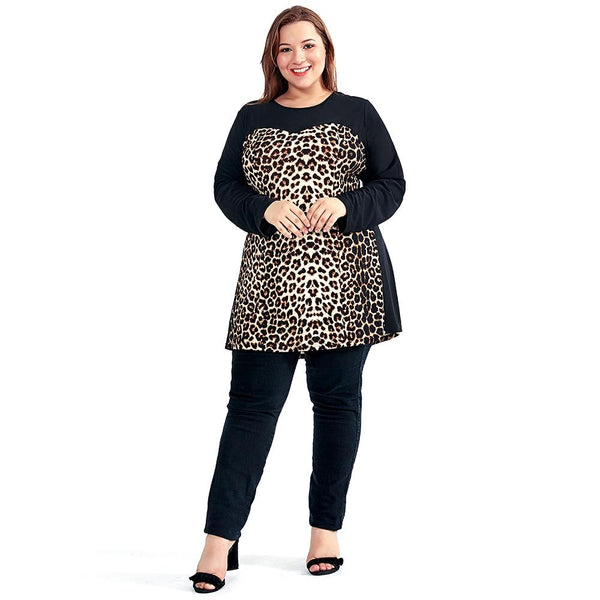 Leopard Slim Long Sleeve Party Dress dress