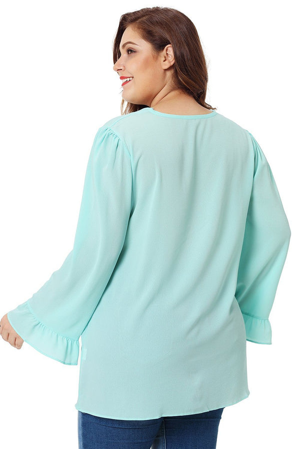 Light Mint Green Casual Plus Size Top Tops