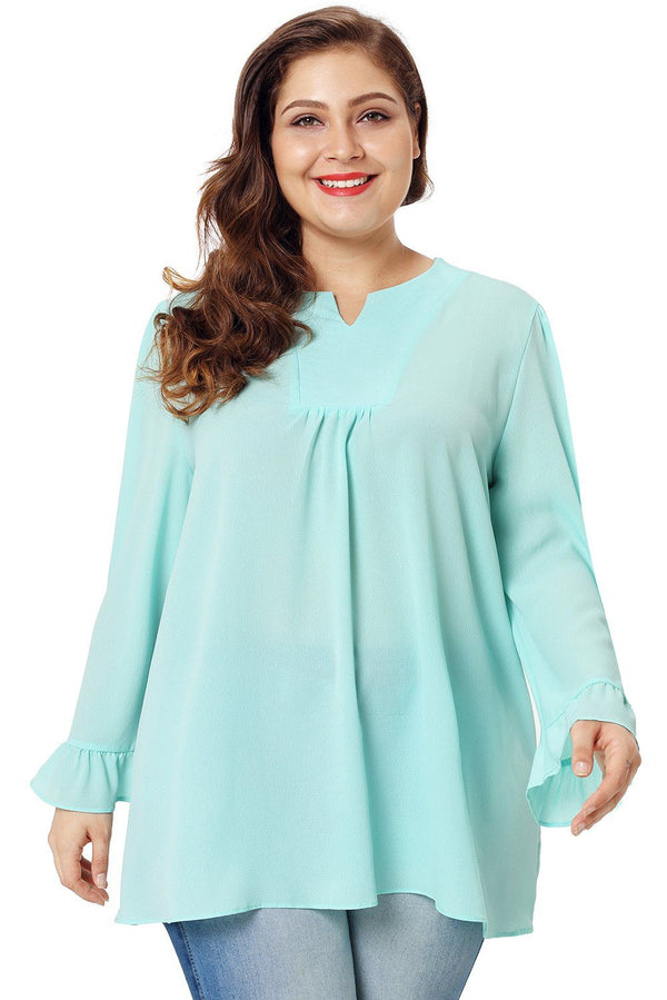 Light Mint Green Casual Plus Size Top Tops Green XL