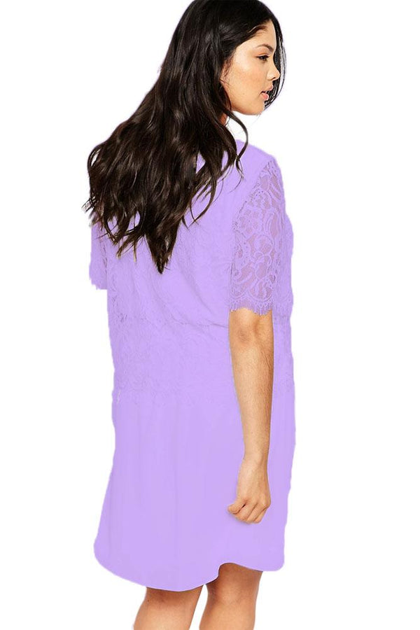 Lilac Eyelash Lace Overlay Chiffon Swing Dress dress