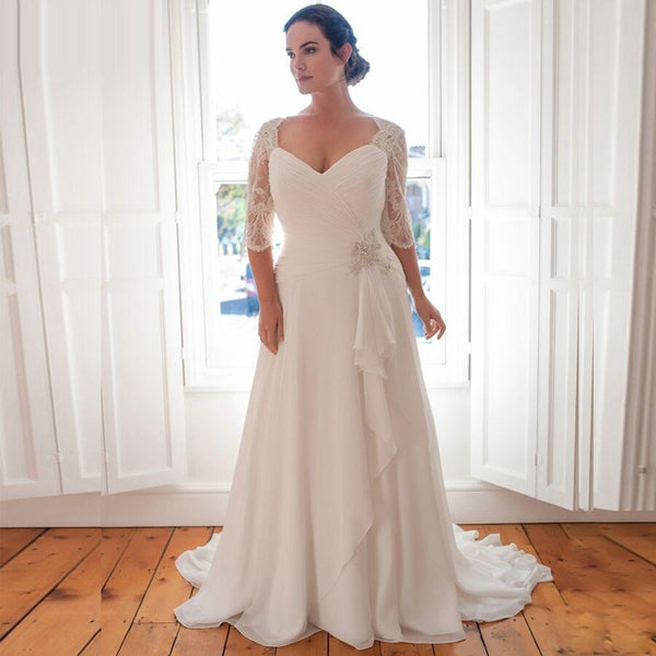 Long Beaded Chiffon Wedding Dress wedding