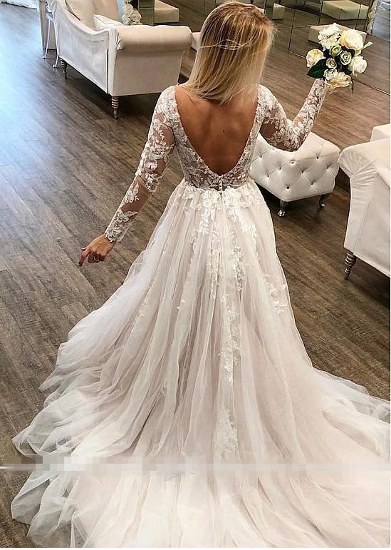 Long Boho Sleeve Lace Wedding Dress wedding dress