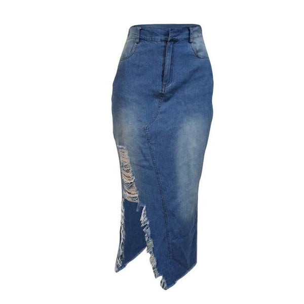 Long Denim Jeans Ripped Skirts skirts Blue S