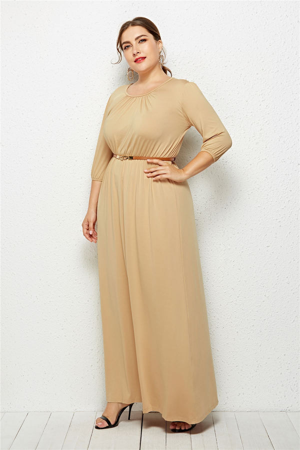 Long Dress Fashion Half Sleeve Solid Long Dress dress