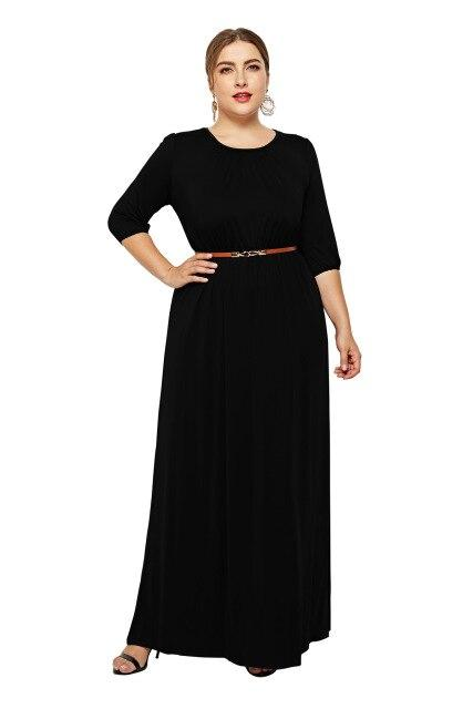 Long Dress Fashion Half Sleeve Solid Long Dress dress Black XXXL