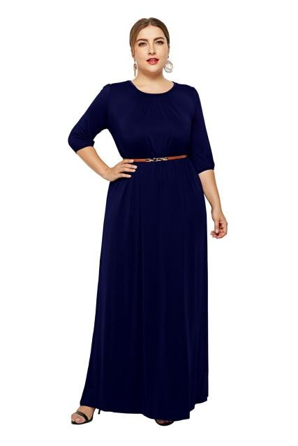 Long Dress Fashion Half Sleeve Solid Long Dress dress Blue XXL