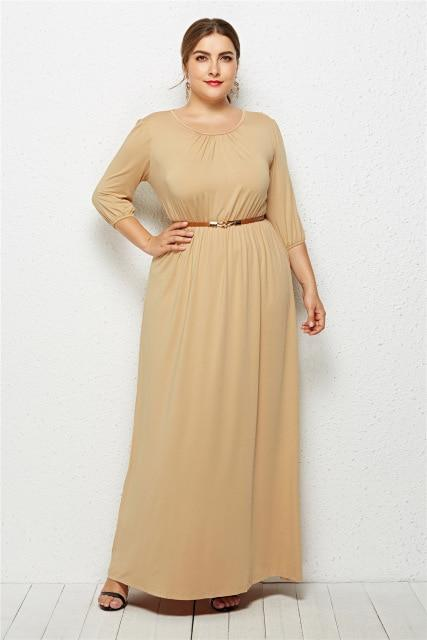 Long Dress Fashion Half Sleeve Solid Long Dress dress Khaki XXXL