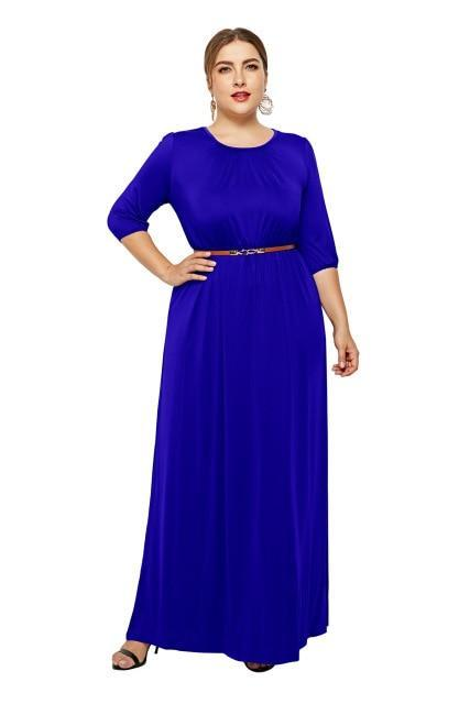 Long Dress Fashion Half Sleeve Solid Long Dress dress Navy Blue XXXL