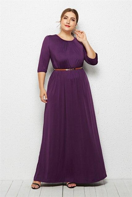 Long Dress Fashion Half Sleeve Solid Long Dress dress Purple XXXL