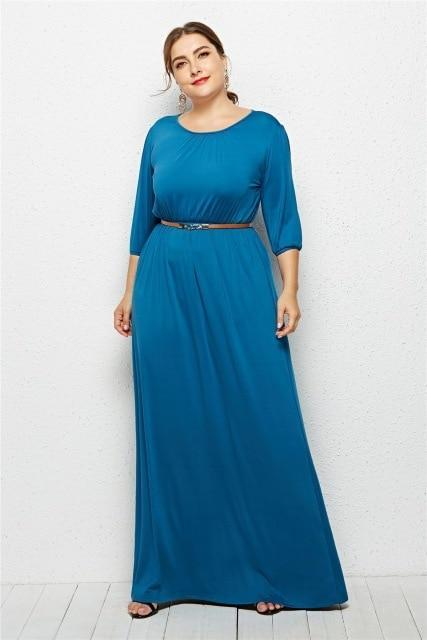 Long Dress Fashion Half Sleeve Solid Long Dress dress Sky Blue M