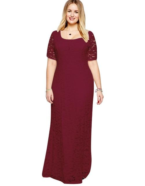 Long Elegant Short Sleeve Party Dress dress Burgundy XXL