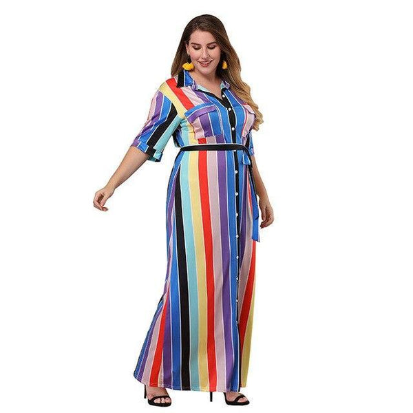 Long Fashion Rainbow Short Sleeve Dress dress as the picture XXXL