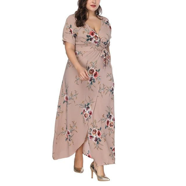 Long Floral Printed Boho Dress dress Blush Pink 4XL